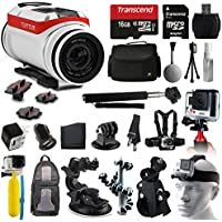 TomTom Bandit 4K HD Action Camera + All You Need 16GB Accessories Kit with 16GB Card + Case + Selfie Stick + Chest/Head Strap + Car/Bike Mount + Backpack + Travel Charger + More!