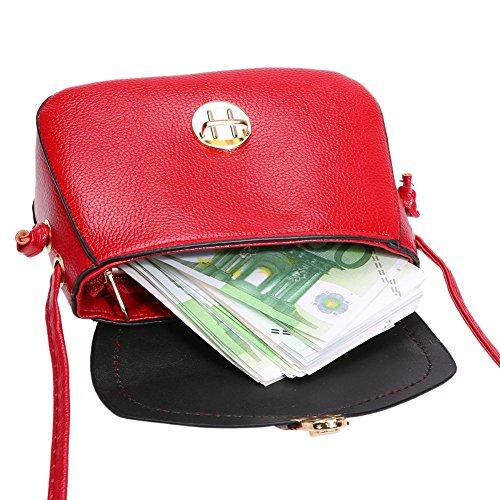 Bandoulière Rouge Cuir Sac D'épaule en Main Petit Casual Messenger Fille PU Demiawaking Sac Flap Femmes Sac à 1BgUwUqE