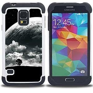 """SAMSUNG Galaxy S5 V / i9600 / SM-G900 - 3 en 1 impreso colorido de Altas Prestaciones PC Funda chaqueta Negro cubierta gel silicona suave (Árbol solo y Luna"""")"""