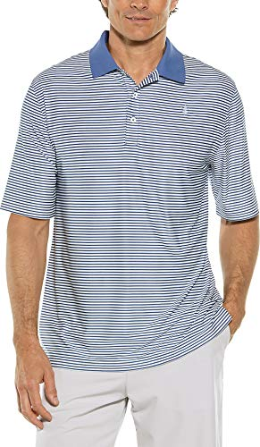 Coolibar UPF 50+ Men's Short Sleeve St. Andrews Golf Polo - Sun Protective (Medium- Dusk Blue/White Stripe)