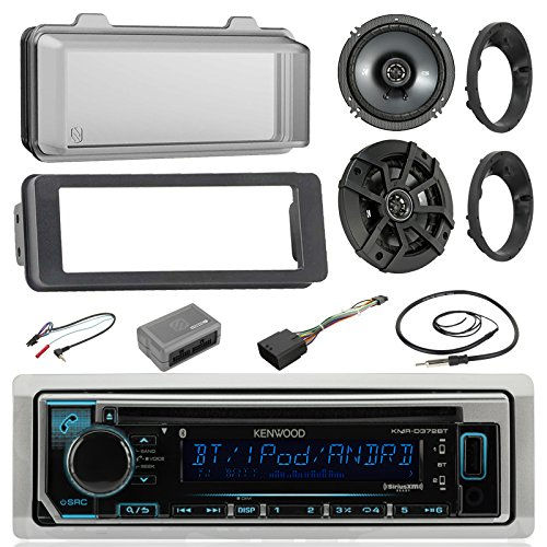 Kenwood KMRD372BT MP3 Stereo Receiver CD Player W/Cover -Bundle Combo with 2X Kicker 6.5 Speakers W/Brackets + Dash Trim Kit + Handle Bar Conroller for 98-13 Harley Motorcycles + Enrock Antenna