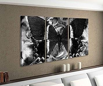 bbfa21d7eff83 Leinwandbild 3 tlg Schmetterling blau schwarz abstrakt Hintergrund schwarz  weiß Bild Bilder Leinwand Leinwandbilder Holz Wandbild