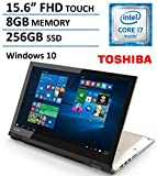 2016 NEW Edition Toshiba Satellite Fusion 15 L55 2-in-1 Convertible Full HD IPS Touchscreen Laptop / Tablet, Intel Core i7-6500U 3.1GHz, 8GB DDR3, 256GB SSD, HDMI, Backlit Keyboard, Webcam, Windows 10