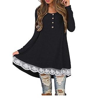 Camisas con Botones Mujer, ❤ Modaworld Camiseta de Manga Larga Casual otoño Mujer Camiseta de Encaje sólido Blusa Tops Camisetas Blusas Elegantes de ...