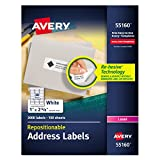 Avery Repositionable Address Labels for Inkjet Printers 1'' x 2-5/8'', Box of 3,000 (55160)