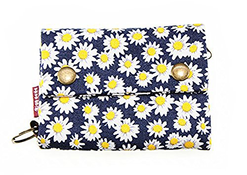 Korean Japanese Style Canvas Youth Wallet Cartoon Credit Card Photo Bill Key Holder (Blue Chrysanthemum Pattern) - Cartoon Pattern Canvas