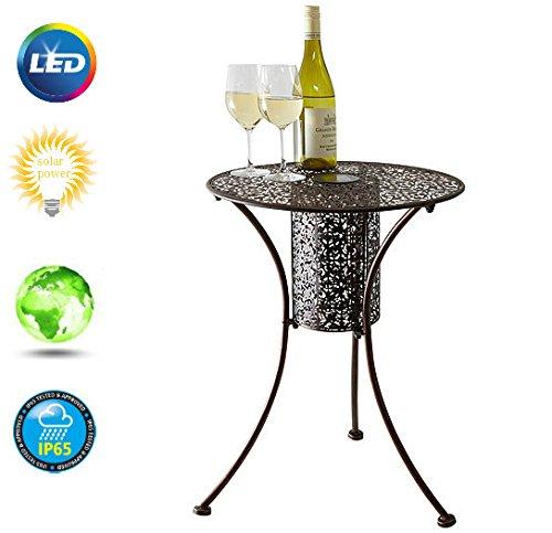 Garden Mile® illumina rotonda silhouette patio Bistro tavolo con luci LED decorativa da giardino tavolino da caffè Side snack Table mobili da giardino in metallo spazzolato finitura in filigrana 45cm diametro