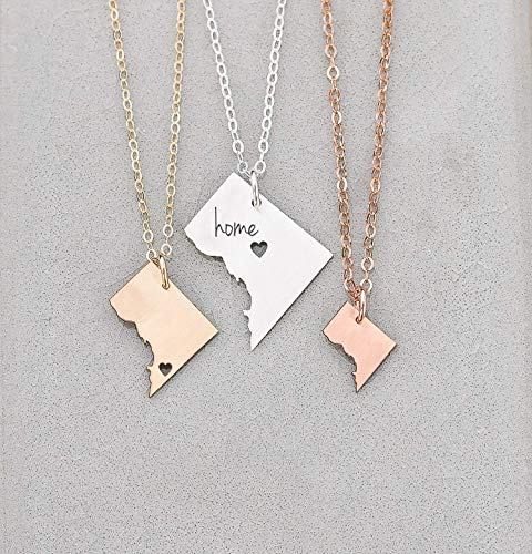 Washington DC Necklace - IBD - District of Columbia - Personalize with Engraving – Choose Chain Length – Size Options - Ships in 1 Business Day - 935 Sterling Silver 14K Rose Gold Filled Charm