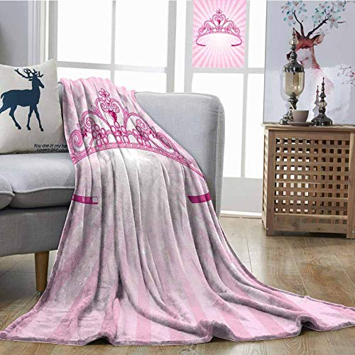 SONGDAYONE Fashion Throwing Blanket Beautiful Pink Fairy Princess Costume Print Crown with Diamond Image Art Super Soft W54 xL72 ()