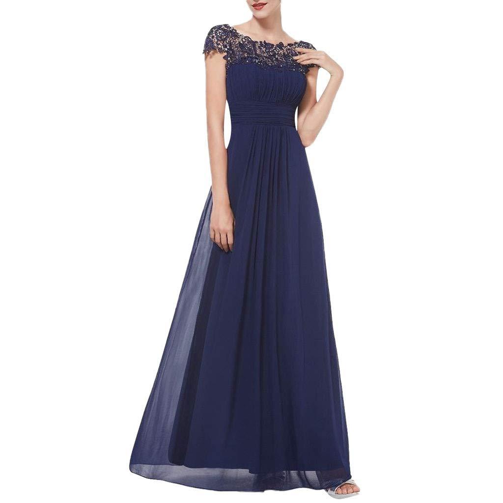RoDeke Women's Short Sleeves Lace Cutout Vintage Dress Elegant Evening Dress Short Sleeves Maxi Long Dress Dark Blue