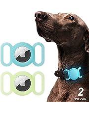 MEMUMI 2 Piezas para Airtag Funda Protector de Silicona Luminoso para Airtag Localizador Bluetooth para Perro Gato Mascota Collar Protector Funda para Airtag (Verde Luminoso y Azul Luminoso)