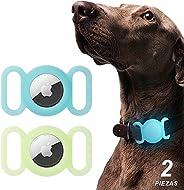 MEMUMI 2 Piezas para Airtag Funda Protector de Silicona Luminoso para Airtag Localizador Bluetooth para Perro