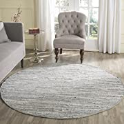 Safavieh Rag Rug Collection RAR121A Hand Woven Grey Cotton Round Area Rug (6 Diameter)
