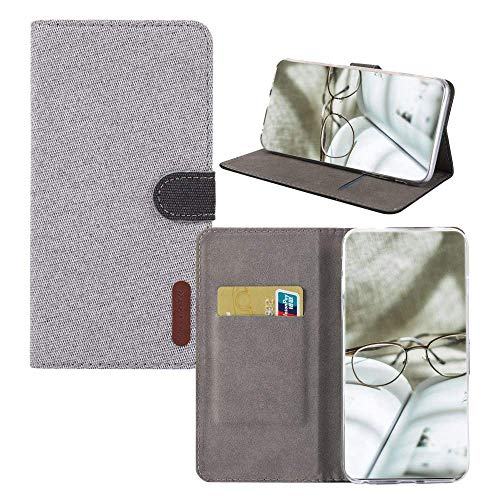 04 Canvas - IVY Minimalist Redmi Note 4 Case,[Denim Material][Magnetic Function] PU Leather Wallet Folio Cover for Xiaomi Redmi Note 4/Redmi Note 4X - Light Grey