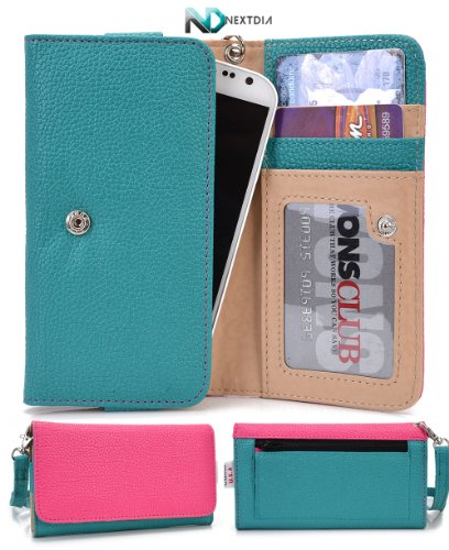 Smartphone Wristlet and Wallet in One [ Aqua Green and Magenta ] - Fits Pantech Vega R3 IM-A850L Universal Case designed By Kroo +Complimentary NextDia ™ Velcro Cable Strap Included