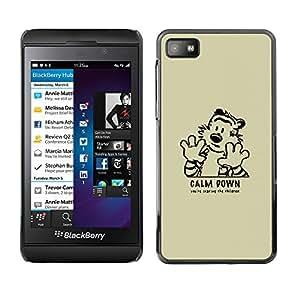 KLONGSHOP // Cubierta de piel con cierre a presión Shell trasero duro de goma Protección Caso - Calma tigre de Down - Blackberry Z10 //