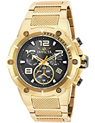 Invicta Speedway Chronograph Black Dial Gold Ion-plated Mens Watch 19530