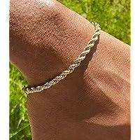 Handmade Gold Plated Cuff Chain Bracelet For Men and Women - Italian Men Gold Filled Rope 4mm Bracelet Life Time Warranty