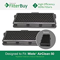 2 - Miele Active AirClean 50 HEPA Filters, Part # AAC50 & SF-AA50. Designed by FilterBuy to fit Miele S4 and S5 Series Canister Vacuum Cleaners