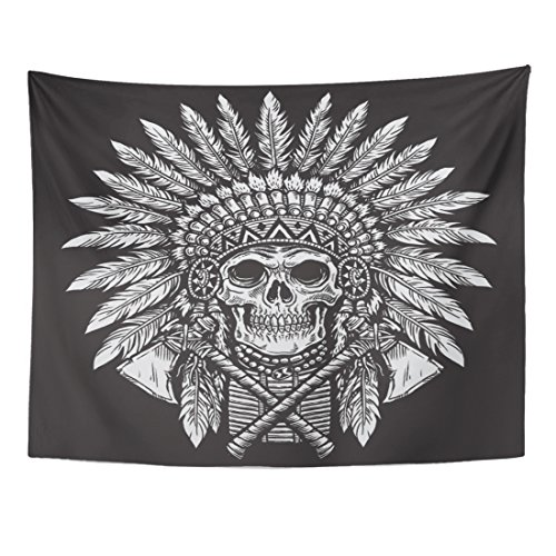 Emvency Tapestry Indian Bold Native American Skull Chief Cherokee Plume Tattoo Home Decor Wall Hanging for Living Room Bedroom Dorm 60x80 Inches