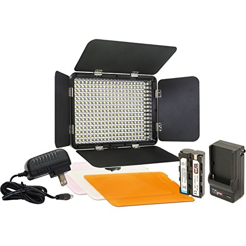 Vidpro LED-330 Studio Video Lighting Kit with Built-in Barn Doors & 3 Color Gel Filters Includes Li-ion Battery & Charger, AC Adapter, Adjustable Shoe Mount by VidPro