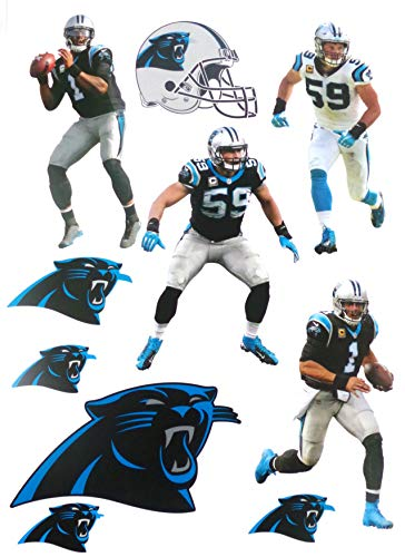 FATHEAD Carolina Panthers Mini Graphics Team Set 4 Players + 5 Panthers Logo + Helmet Official NFL Vinyl Wall Graphics 7