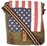 Unisex Messenger Bag designed by ALMOLFA in 12 OZ Cotton Canvas -Biking Bag - Military Green-Shoulder Bag-College-Cycling - Bag for Boys & Girls -13 inches x 11 Inches
