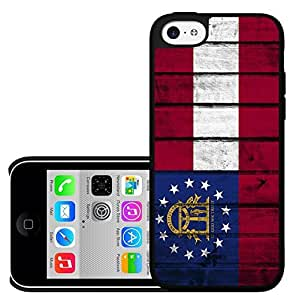 Georgia State Flag Red White and Blue Wood Pattern Background Hard Snap on Phone Case Cover iPhone 5c