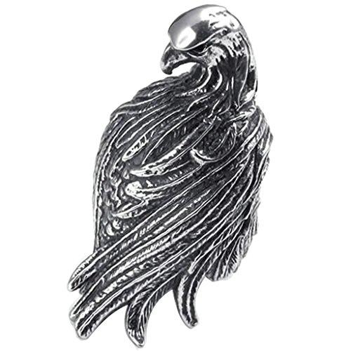 Beydodo Stainless Steel Ring (Punk Bands) Hawk Eagle Black Silver Width 26mm Size 9 For Men
