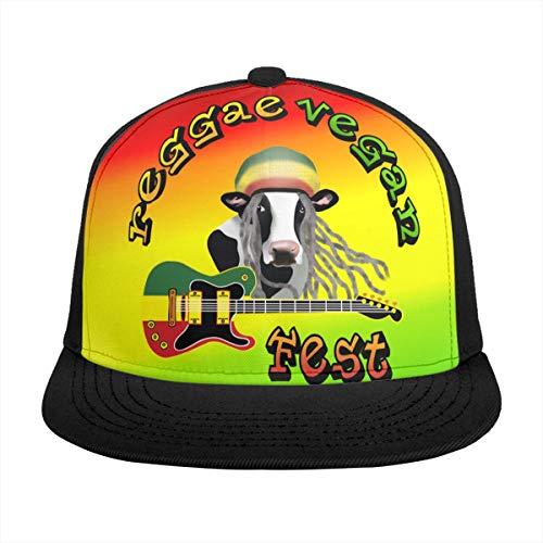 Free-cap2 Reggae Vegan Fest Logo Rasta Colors Baseball Cap 3D Print Snapback Unisex Adjustable Hip Hop Dad Hat Casual Team ()