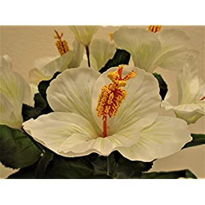 "Phoenix Silk Hibiscus Bush 10 Artificial Silk Flowers 19"" Bouquet 6215 24"