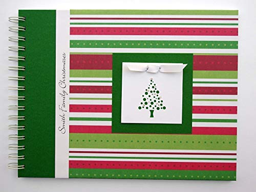 Christmas Picture Album by Charmbooks * Personalized Photo Book * Red Green White Stripes + Tree * Choose Your Design