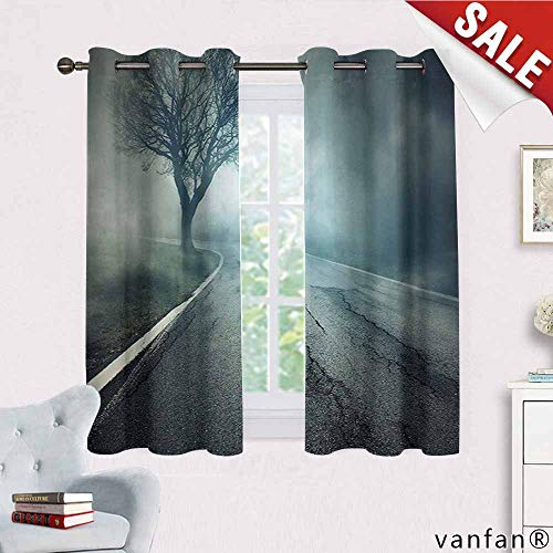 Big datastore Horror House Decor Curtains Hippie,Scary Highway with Cracks on Asphalt Surreal Melancholic Winter Design Complete Darkness Noise Reducing,Blue Gray W63 x L45 -