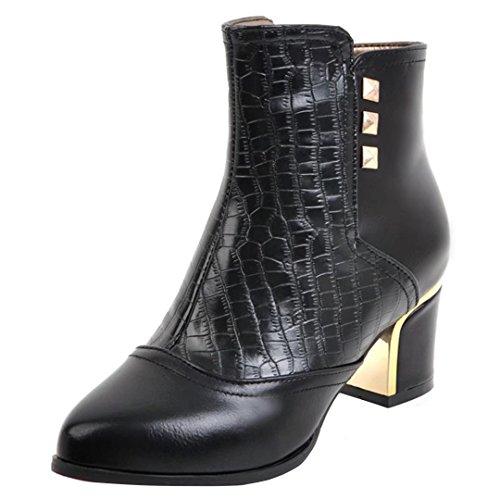 AIYOUMEI Damen Blockabsatz Stiefeletten mit Reißverschluss und Nieten Bequem Modern Kurzschaft Stiefel Schwarz