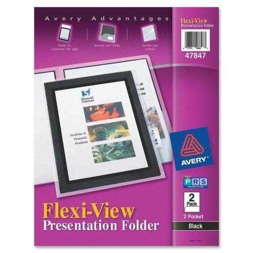 Wholesale CASE of 25 - Avery Flexi-View 2-Pocket Folders-2-Pocket Folder, With Front Window, Letter-Size, 2/PK, Black