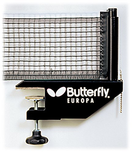 Butterfly Europa Professional Table Tennis Net Set Clamp On Net Set with Adjustable Height and Net Tension 72 in Long Net Fits Tables Up to 1.5 in Thick