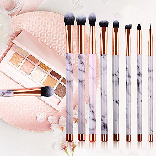 Marble Makeup Brush Set Marble Eyeshadow Brushes Set Angled Eyeliner Brush Lip Brush Blending Crease Kit - Best Choice 8 Vegan Makeup Brushes Pencil, Shader, Tapered, Definer