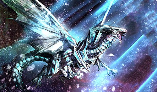 Blue Eyes White Dragon in Space Playmat 24 x 14 inch - Blue Playmat