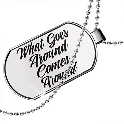 (NEONBLOND Dogtag Vintage Lettering What Goes Around Comes Around Dog Tags Necklace)