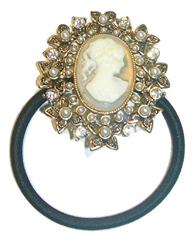 (Bejeweled Antique Style Cameo Ponytail Holder)