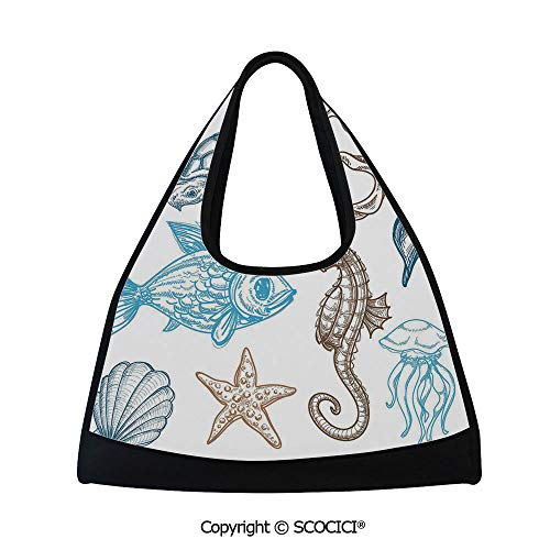 Fitness bag,Underwater Marine Life Aquatic Fish Shell Jellyfish Oyster Squid Seahorse Motif,Easy to Carry(18.5x6.7x20 in) Dark Blue Cocoa (Satchel Oyster)