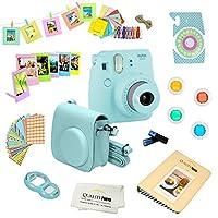Fujifilm Instax Mini 9 Camera + 14 PC Instax Kit de accesorios, incluye; Estuche Instax + Álbum + Marcos y adhesivos + Filtros de lentes + MÁS (azul hielo)