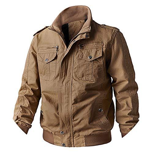 - Cargo Jacket Men Cotton Military Jacket Coat Winter Army Bomber Pilot Windbreaker Clothes,Khaki,XL