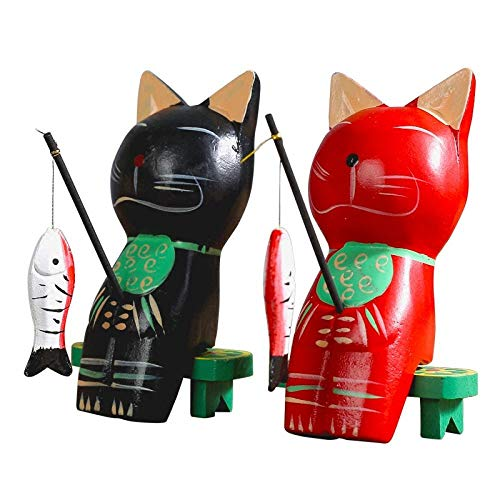 DSZXHN Statues for Home Decor,Creative Cute Wooden Hand Painted Fishing covid 19 (Cat Fishing Sculpture coronavirus)