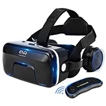 ETVR 3D VR Headset With Remote Controller, Large Viewing Immersive Experience Virtual Reality Glasses with Builted-in Stereo Headphone for VR Games & 3D Movies - Fit for iPhone and Android Smartphones