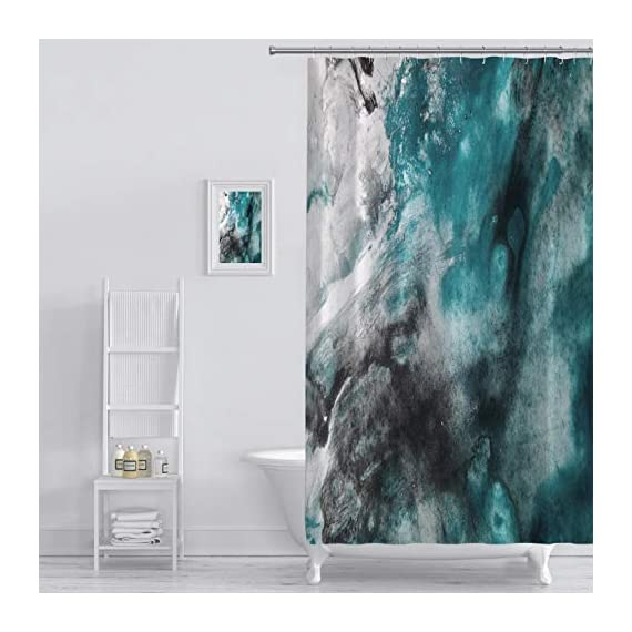 Shower Curtain abstract background watercolor background abstract oil on abstract watercolor art hand Art Print Polyester Fabric Bathroom Decor Sets with Hooks 72 x 72 Inches, Green - 100% Polyester Fabric No Liner Needed Eye-catching pattern adds a distinctive look to your bathroom Bold graphics printed with state of the art digital printing technology - shower-curtains, bathroom-linens, bathroom - 51667rRGvlL. SS570  -
