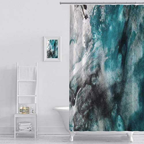 Shower Curtain abstract background watercolor background abstract oil on abstract watercolor art hand Art Print Polyester Fabric Bathroom Decor Sets with Hooks 72 x 72 Inches, Green (Shower Curtain Teal Grey)