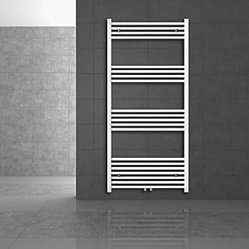 Radiador toallero de baño, calentador de toallas, 450 x 900 mm, curvado, con conexión central, color blanco: Amazon.es: Iluminación