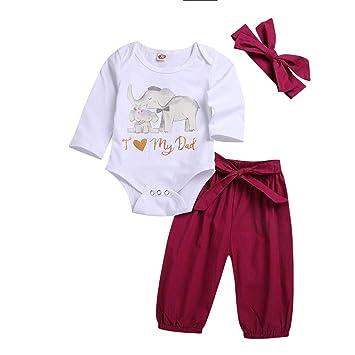 edd5a3005 NUWFOR 3PCS Toddler Kids Baby Letter Elephant Romper+Pants+Headbands Set  Outfit(White