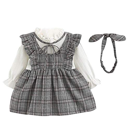 Clearance! Toddler Kids Baby Girl Flare Long Sleeve Plaid Striped Bow Party Princess Dress+Headbands Outfit Set